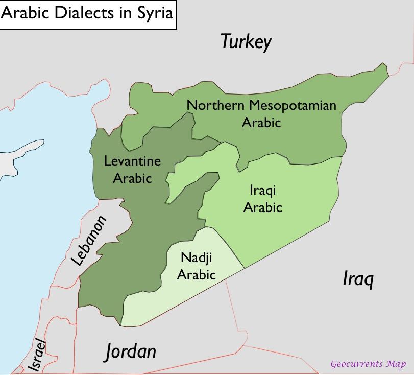Language This language map of Syria shows that Syria is an Arabic