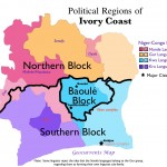 Map of the main political/ethnic blocks in Ivory Coast