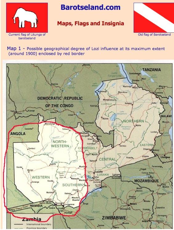 Map of Barotseland; Lozi Kingdom at Its Height