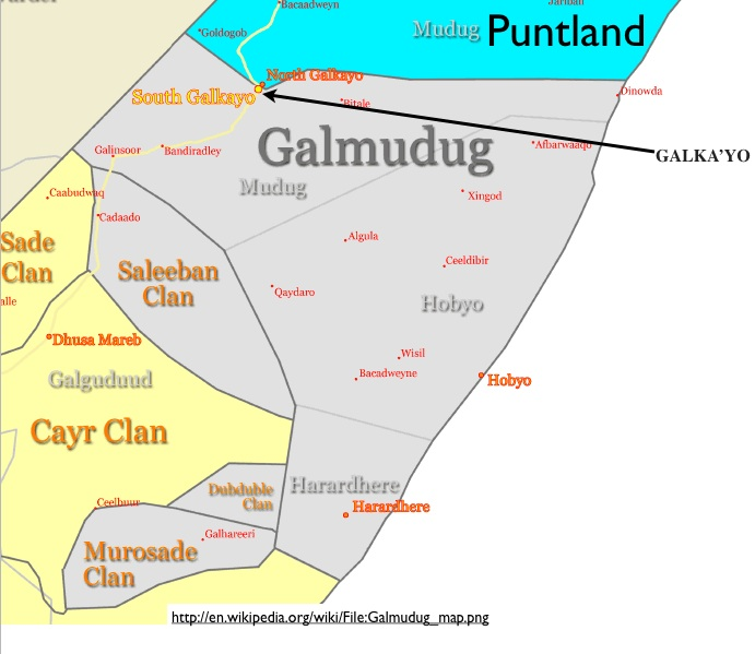 Central Somalia Political Map Geocurrents