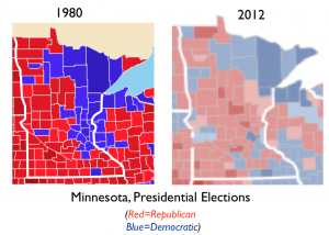 Minnesota 1980, 2012 Presidential elections map