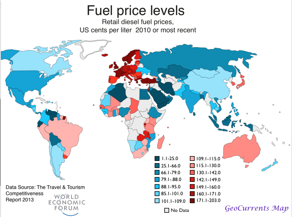 egypt and the world diesel price map