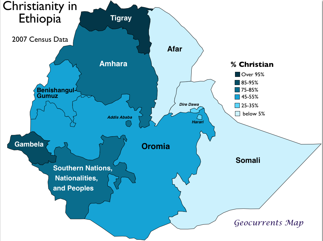 Christianity Ethiopia Map GeoCurrents - Christianity map