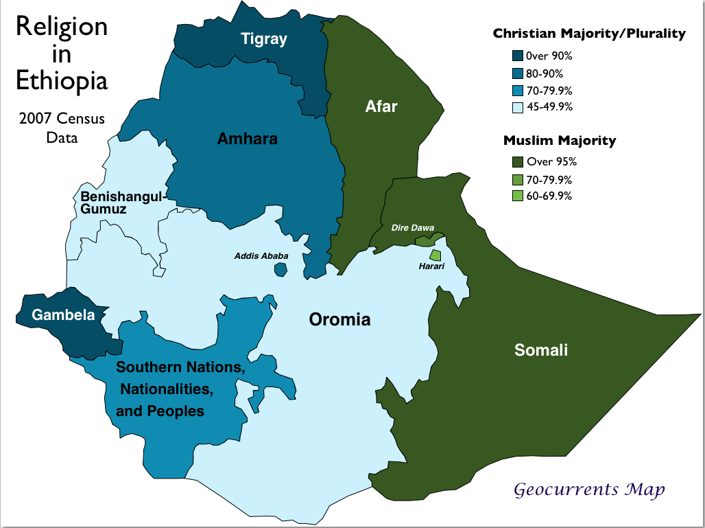 Ethiopia Religion Map Geocurrents