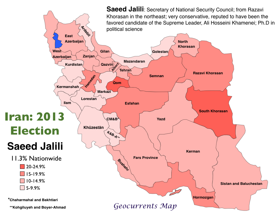 Geocurrents maps of iran geocurrents 2013 iranian election saeed jalili vote gumiabroncs Choice Image