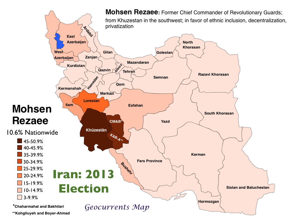 2013 Iranian Election Mohsan Rezaee Vote