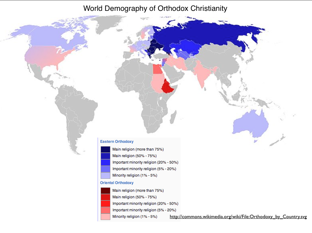 Orthodox Christianity Map GeoCurrents - Christianity map