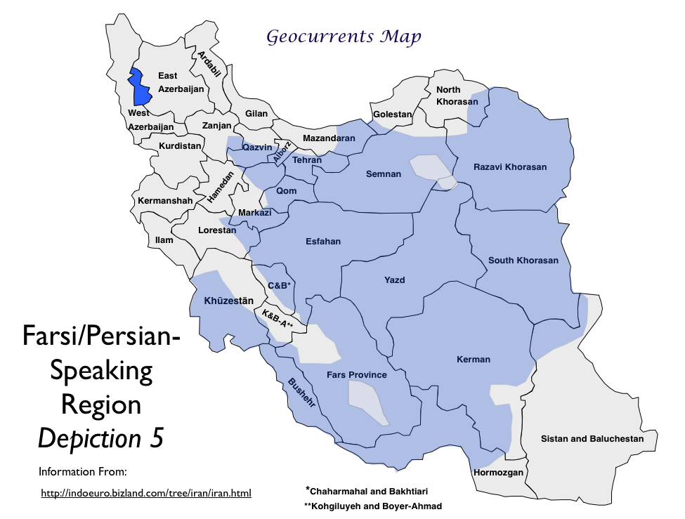 Farsi Language Map GeoCurrents - Farsi language map