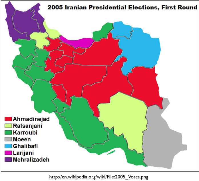 Iran 2005 election first round map geocurrents sciox Choice Image