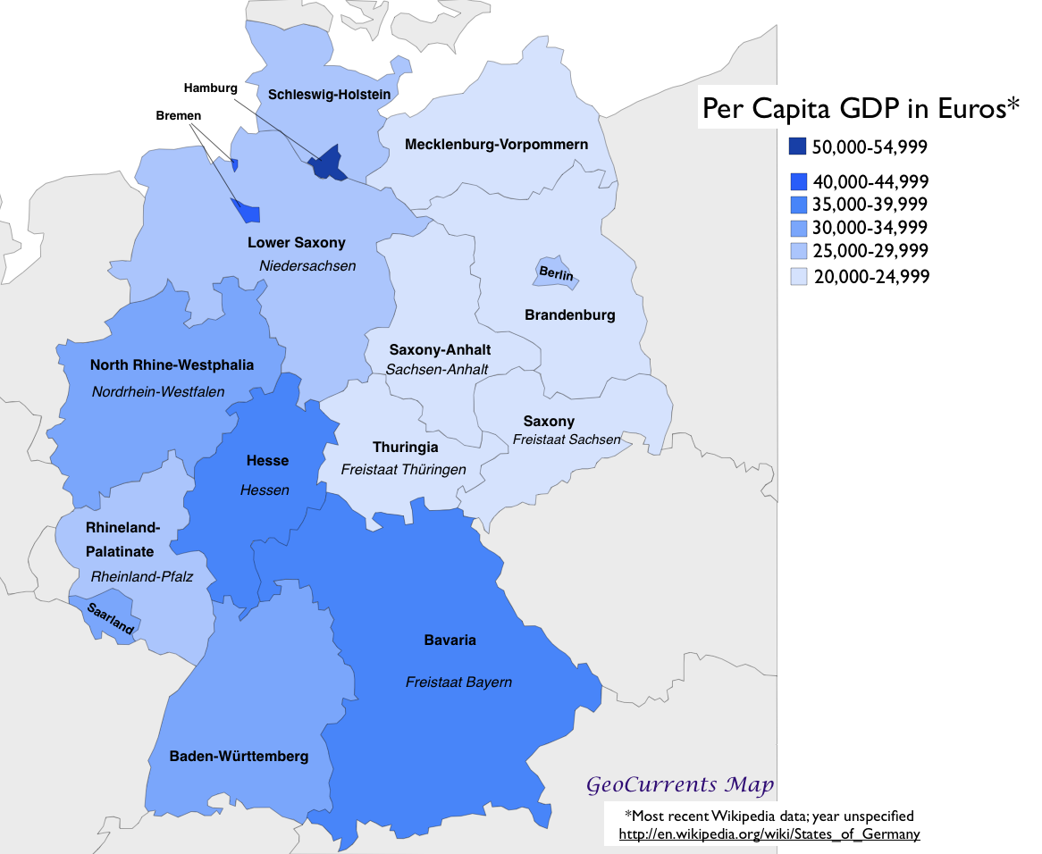 Germany Map States.Germany Per Capita Gdp By State Map Geocurrents