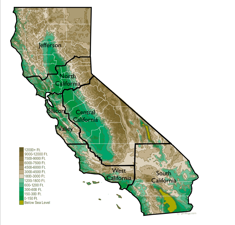 Tim Drapers Proposed Six Californias GeoCurrents - South california map