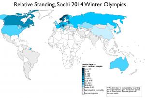 Sochi per capita medals map