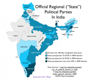 Regional Parties in India Map