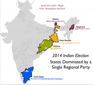 2014 India Elections Regional Parties map 1