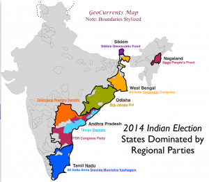 2014 India Elections Regional Parties map 2