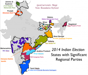 2014 India Elections Regional Parties map 3