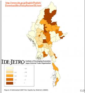 Burma per capita GDP by Region Map