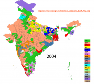 India 2004 election map