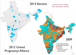 India 2009 2014 Elections UPA Map