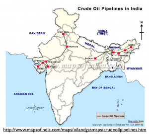 India Oil Pipelines Map