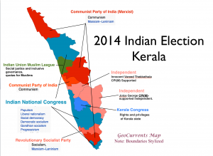 Kerala 2014 Election Map