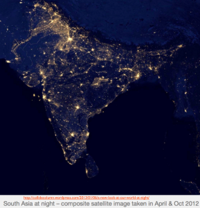 South Asia Light Map