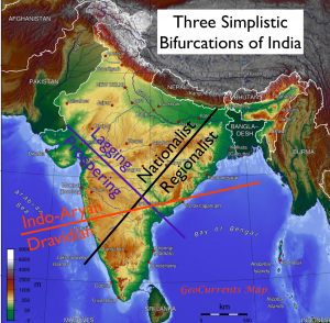 Three Simplistic Divisions of India Map