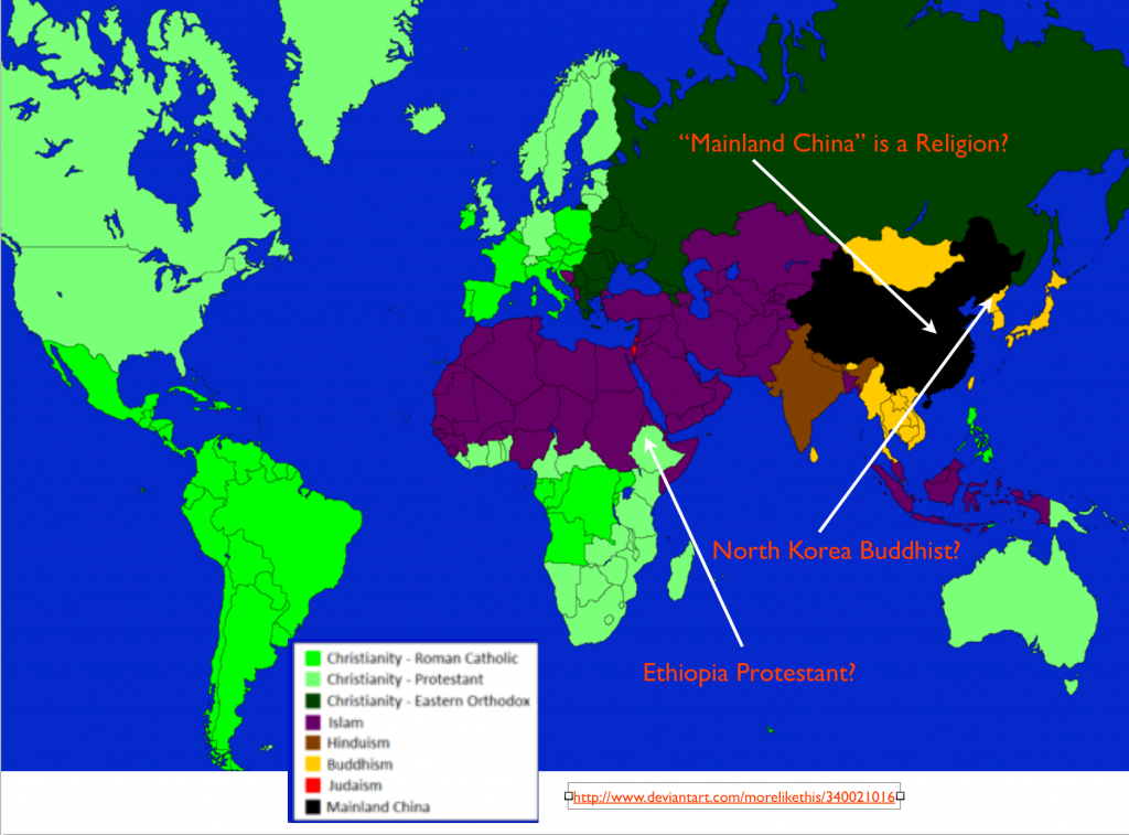 Religion 25 geocurrents wikipedia the difficulties of mapping world religions and a most bizarre map gumiabroncs Choice Image