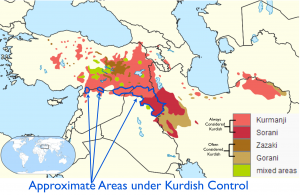 Kurdish Language and Kurdish Control Map