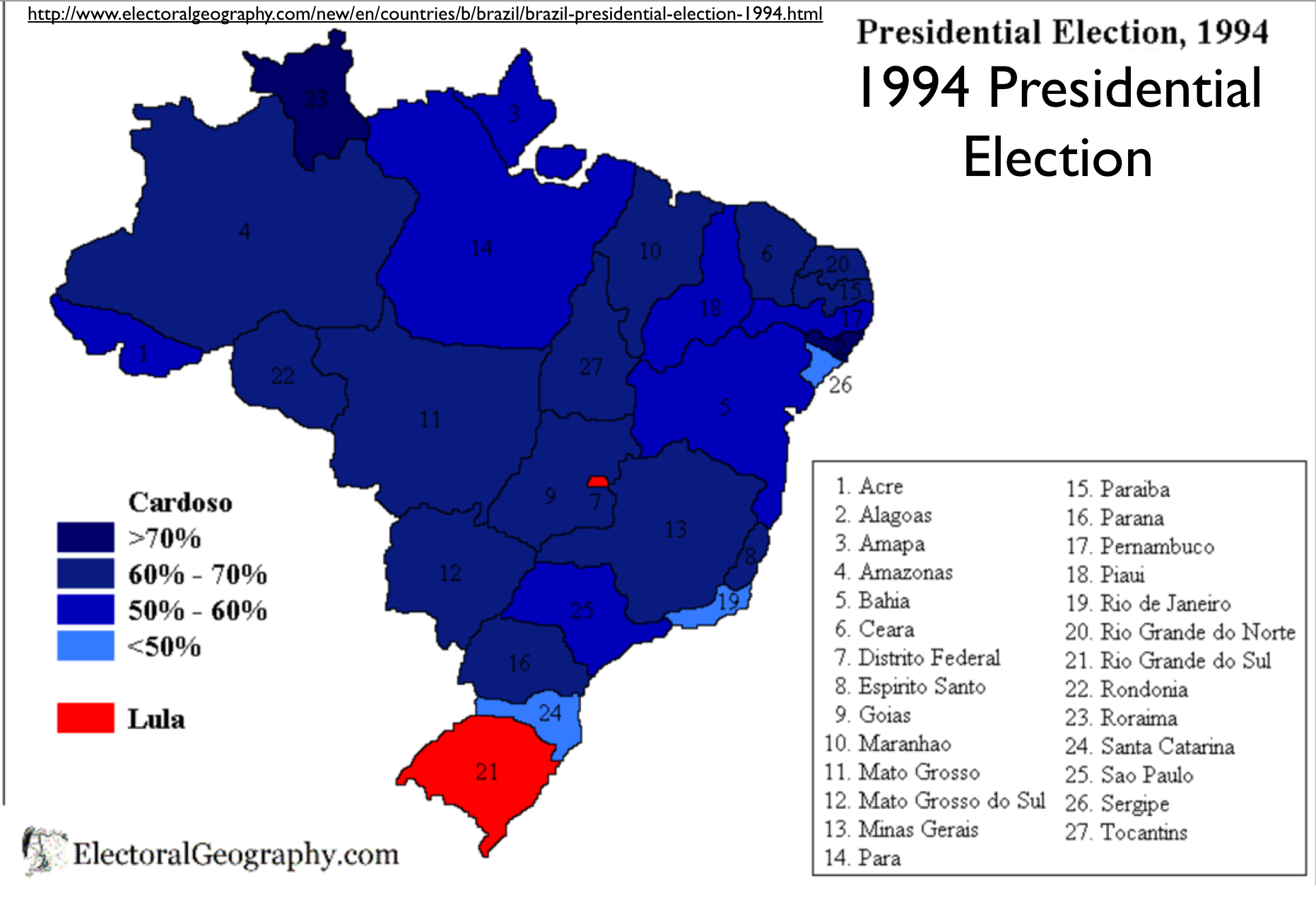 Preliminary Observations On Brazils Presidential Election - Brazil election map