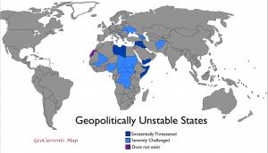 Geopolitically Unstable States map