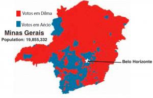 Minsas Gerais 2014 Election map