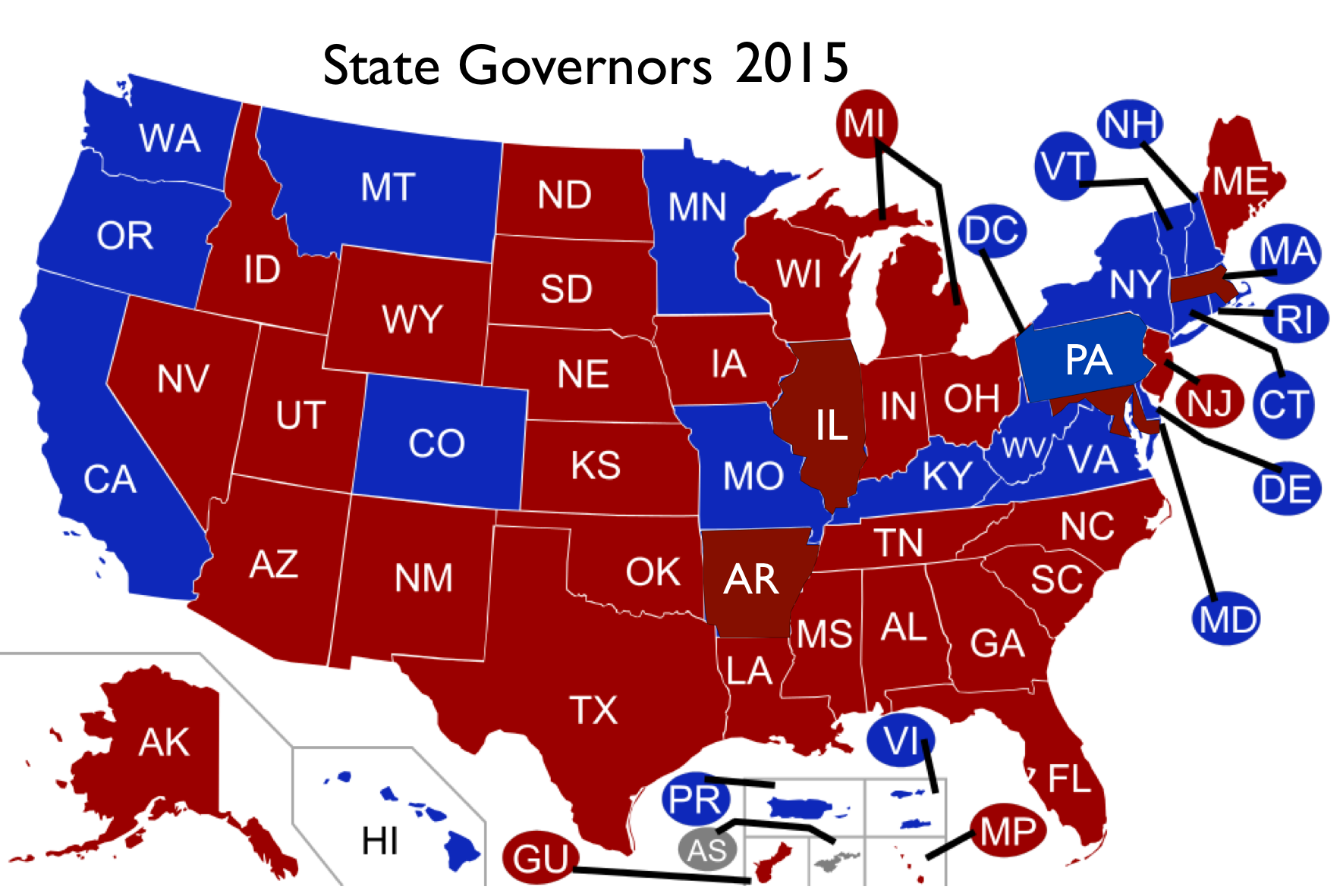 Does The Red Stateblue State Model Of Us Electoral Politics - Us-governors-map