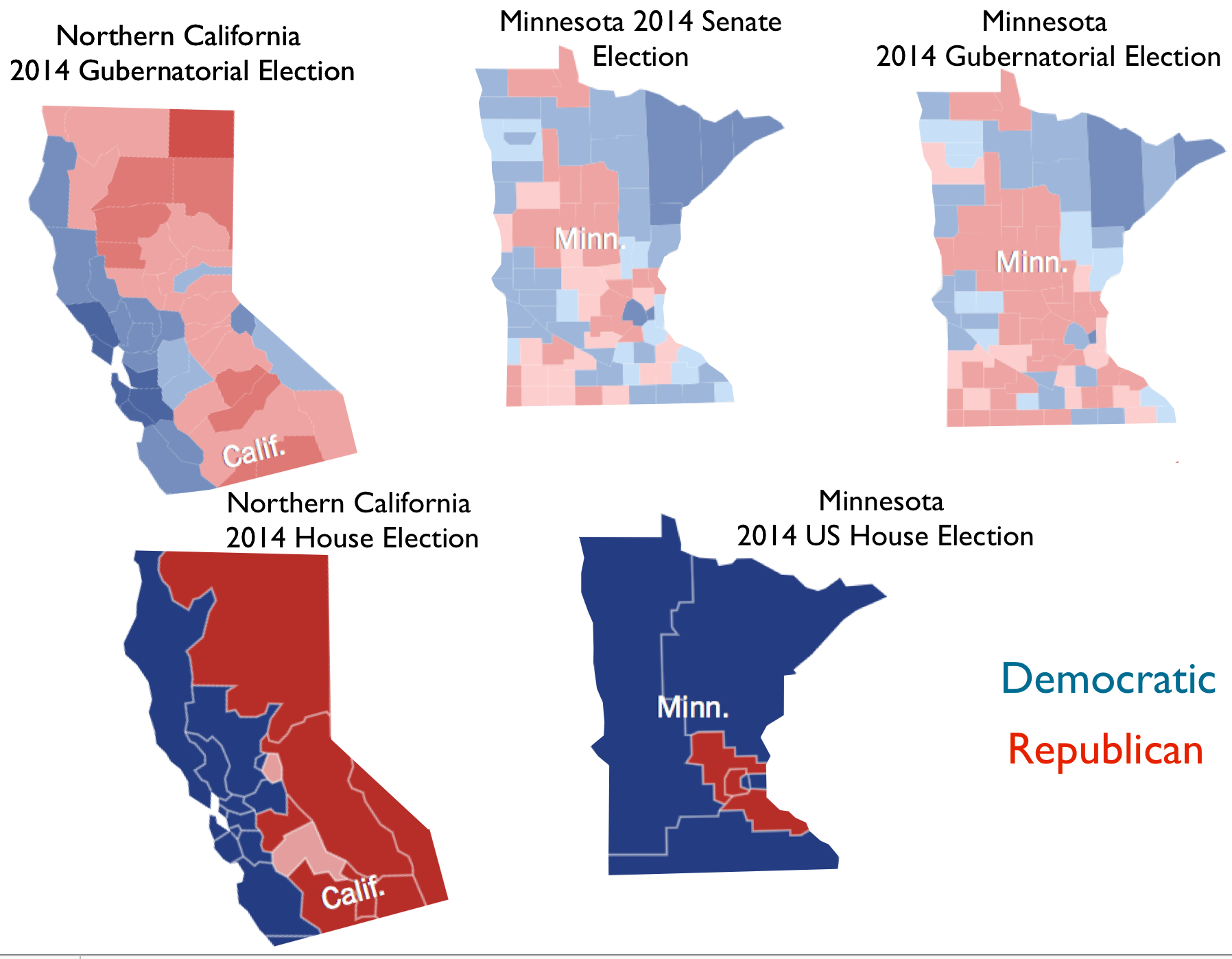 Minnesota And Northern California Political Twins Or Political - Political leanings map us