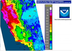 California Early December 2014 Rain Map
