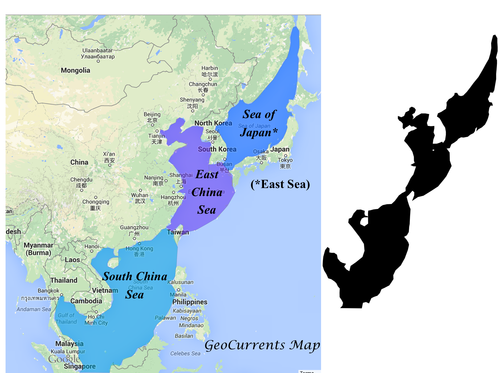 Map Of Asia Seas.Slides On Conflicts In The East Asian Seas Geocurrents