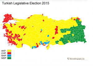 Turkey 2015 Vote Parties Map