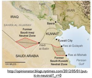 Arabian Neutral Zones Map