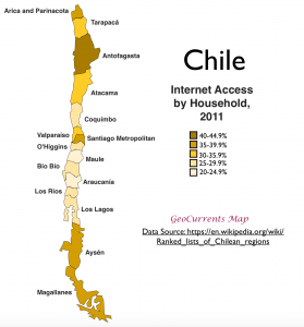 Chile Internet access Map