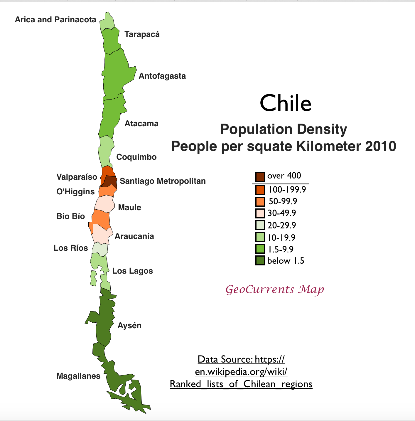 Chile's Unusual Core/Periphery Pattern on