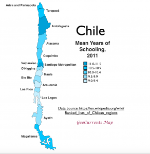 Chile mean years of schooling map