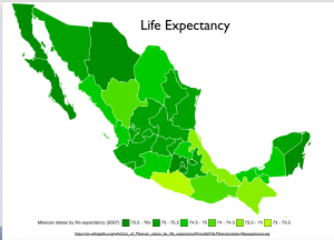 Mexico Live Expectancy Map