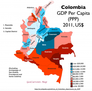 Colombia GDP per capita map