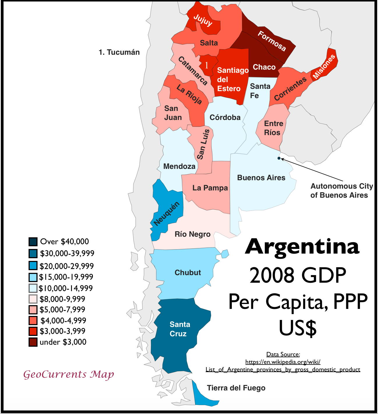 Argentinas Striking NorthSouth Economic Divide GeoCurrents - Argentina map cordoba