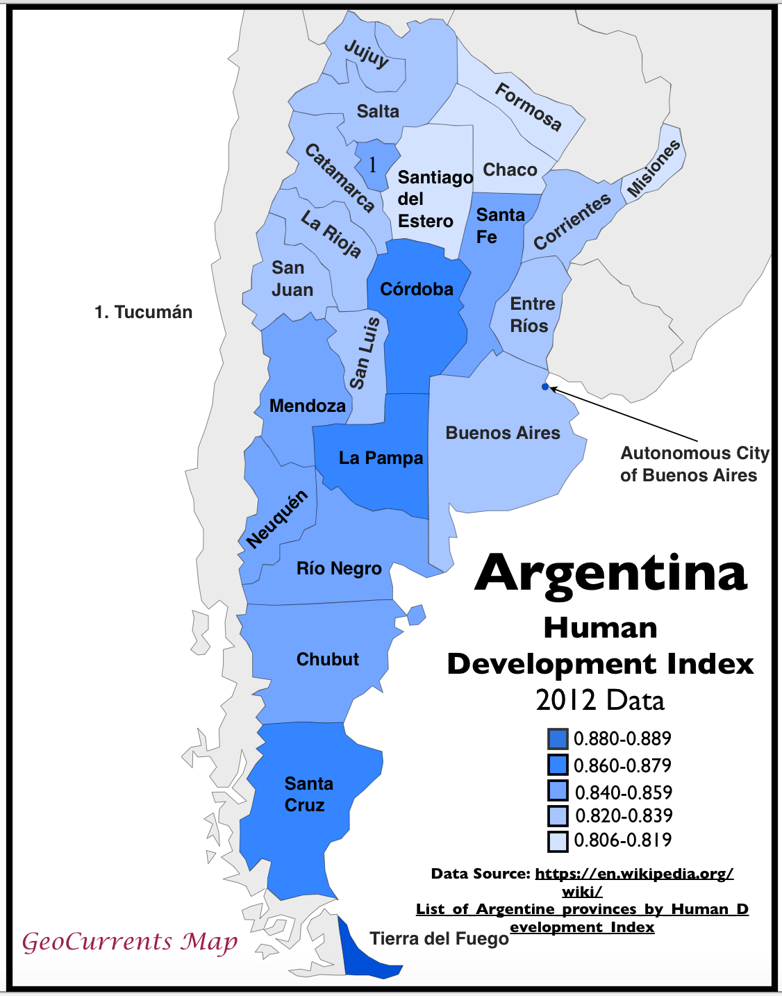Argentinas HDI The Wikipedias Worst Map GeoCurrents - Map argentina