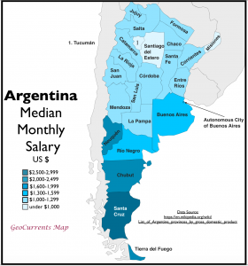 Argentina monthy salary by province map