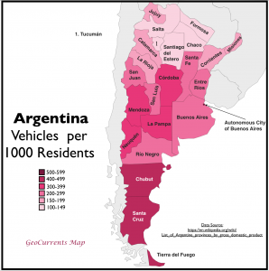Argentina vehicle ownership map