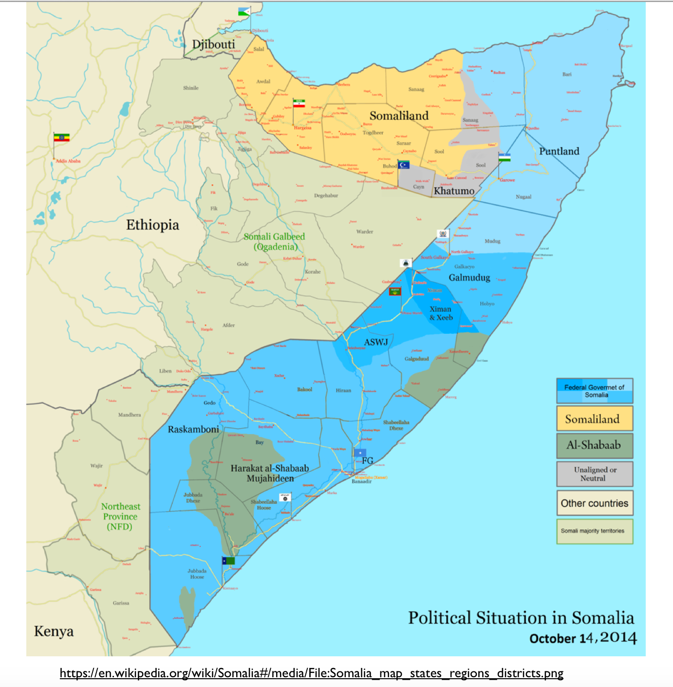 Somalia Political Situation Map Geocurrents