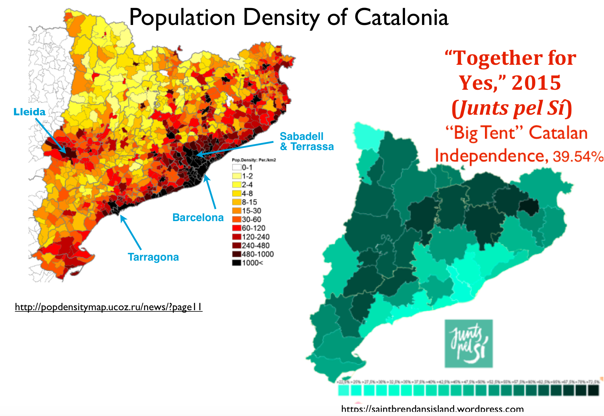 The RuralUrban Divide In Catalonias Election GeoCurrents - Map of population density us election