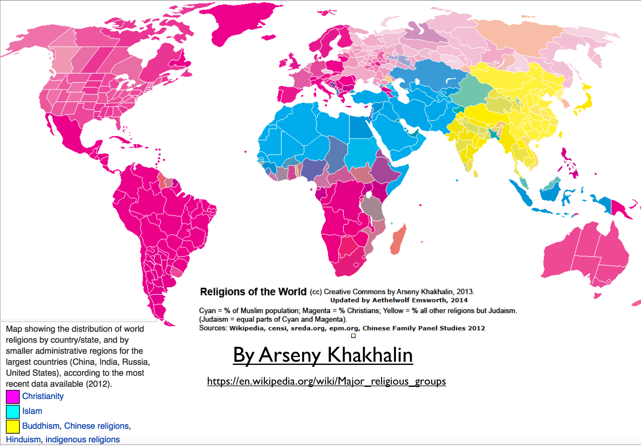 Innovative wikipedia maps of world religion geocurrents religions of the world map gumiabroncs Image collections